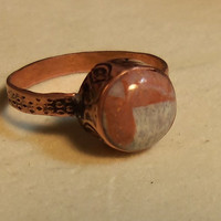 Stamped ring with handmade polished bead