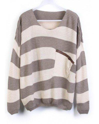 Grey Stripes Loose Sweater with Pocket  style sweater392