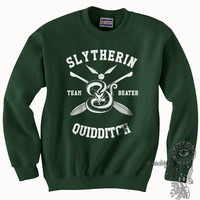 BEATER - Slytherin Quidditch team Beater WHITE print on Forest green color Crew neck Sweatshirt