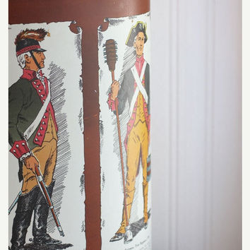 ON SALE Trash Can, Soldier, Military, Vintage garbage can, boys room, Military, Colonial, 1960s, Metal trash can
