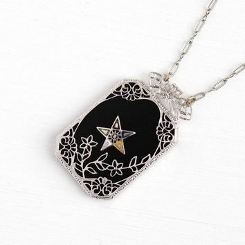 Sale - Vintage OES Necklace - Order of the Eastern Star Pendant Silver Tone Art Deco 1920s - Flower Filigree Black Glass Enamel NOS Jewelry