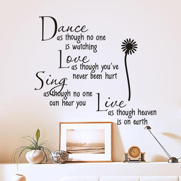 dance as though no one is watching love quote wall decals zooyoo2008 removable pvc wall stickers home decor bedroom diy wall art SM6