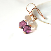 GRACE earrings // moonstone, glass crystal, rose gold filled wire 14 k