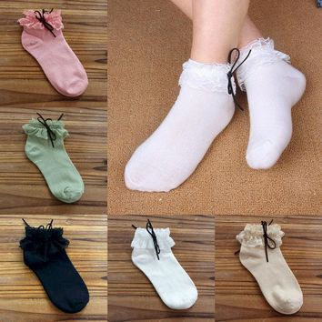 Women Vintage Lace Ruffle Frilly Ankle Socks Princess/Fashion/Girls/Cotton/Socks