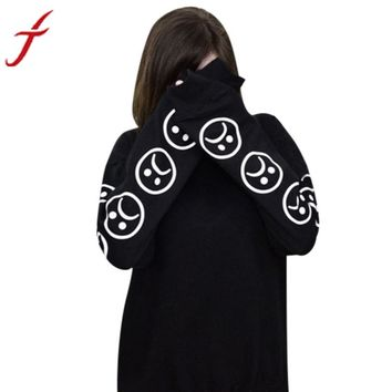 Fashion Autumn T shirt Women Sad Faces Emoticon kawaii Printed Sleeves Printed O Neck Sweatshirt Tops Black White Funny t shirts