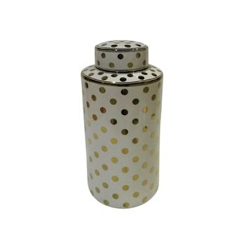 Stylish Polka Dot Patterned Decorative Ceramic Covered Jar, White & Gold By Sagebrook Home