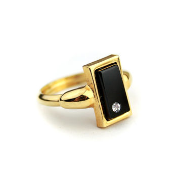 Black AVON Ring / Rectangle Ring with Rhinestone Adjustable Band