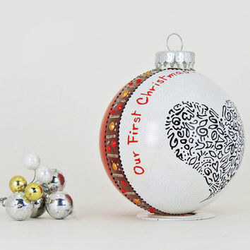 Our First Christmas ornament - Hand painted personalized glass ball - Red with black lacy heart