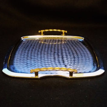 Vintage Silver Tone Tray with Gold Brass Coloured Handles. Small Serving Tray. Square Metal Patterned Tray.