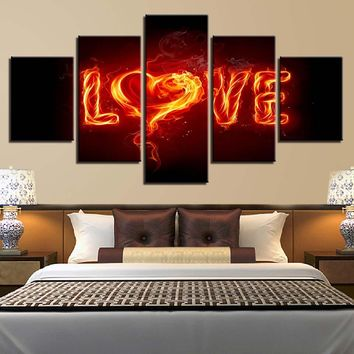 Heart Shape LOVE Letters Flames Fire Wall Art Canvas Panel Print Poster For Living Bed Room