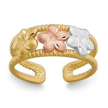 14k Two-tone Gold & Rhodium Plumeria Toe Ring