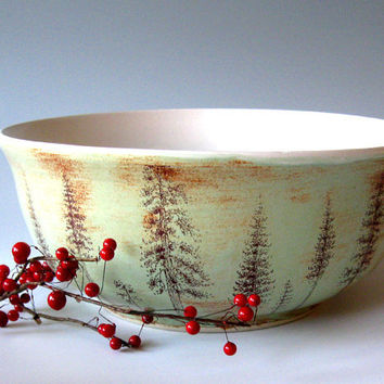 Large Ceramic  Bowl - Pine Trees - Decorative - Functional -  Hand Thrown Stoneware Pottery