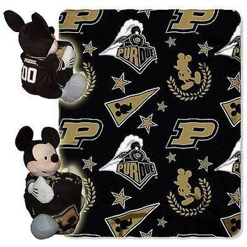 Purdue Boilermakers NCAA Mickey Mouse Throw and Hugger Pillow Set