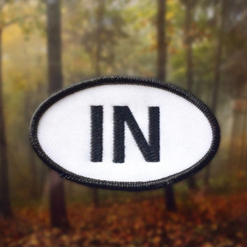 "Indiana IN Patch - Iron or Sew On - 2"" x 3.5"" - Embroidered Oval Appliqué - The Hoosier State - Black White Hat Bag Accessory Handmade USA"