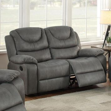 Breathable Leather, Solid Pine & Plywood Reclining Loveseat, Grey