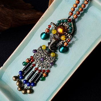 women necklace 2018 new arrival multicolor wood beaded elephant ethnic jewelry accessories long high quality necklaces XL211