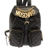 Lettering quilted-leather backpack