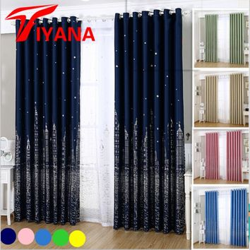 Modern Star Castle Blackout Curtains Window Drapes for Bedroom Living Room Cartoon Kids Curtain Boys Girls Fashion Blue Pink Z20