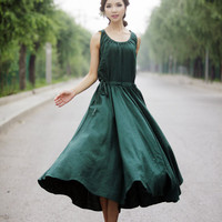 Maxi Summer Dress - Emerald Green Long Sleeveless Fit & Flare Dress with Drawstring Waist (C152)