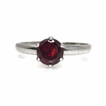 White Gold Garnet Solitaire Engagement Ring