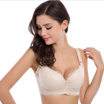 Sexy Women Embroidery Lace Crochet Bra Female Back Closure Lingerie Underwire Push-Up Padded Bras Cup C