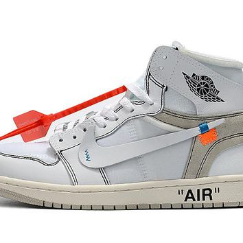 Bes Deal Online Nike Air Jordan Retro 1 x OFF-WHITE Men Sneakers AQ0818-100 Sports Shoes