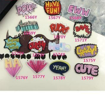Cute Badge Acrylic Brooches Pins Women Men Jewelry Accessories Cartoon Letter Word Bro