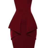 Robyn Wine Peplum Dress