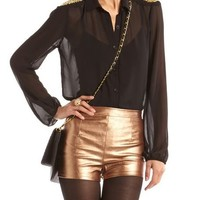 Gold Studded Shoulder Blouse: Charlotte Russe