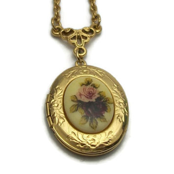 1928 Jewelry Co Gold Tone Locket Pendant Necklace - Long 28 inch Chain - Floral Pink Deep Red Purple Roses Flowers - Victorian style
