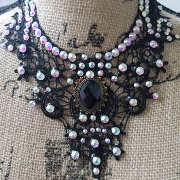 Burlesque  - steampunk - dance - competition - ballroom - costume - rhinestone - and - lace - necklace - choker