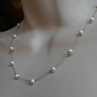 "10K Gold Pearl Station Necklace, 6mm Cultured Pearls, 18"" long, Bridal Wedding"