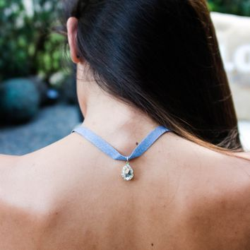 Crystal pear drop denim choker