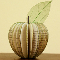 Book Art:Recycled paper apple with glitter and leaf.