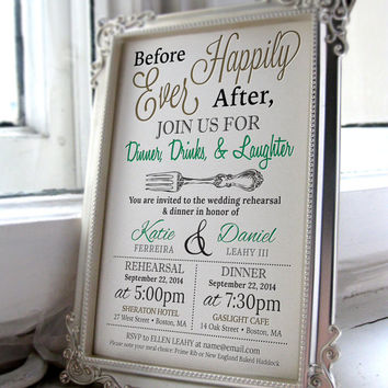 5x7 Customized Wedding Rehearsal Dinner Invitation - Digital File