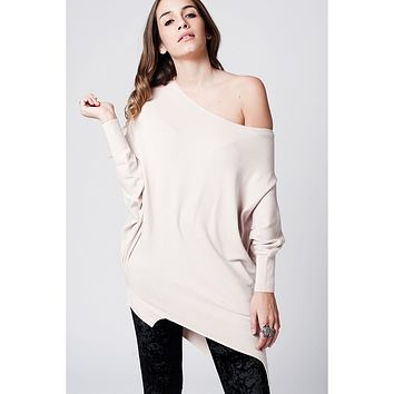 beige soft asymmetric jersey with bat sleeves