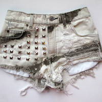 Brown black & white / distressed and studded / high waist