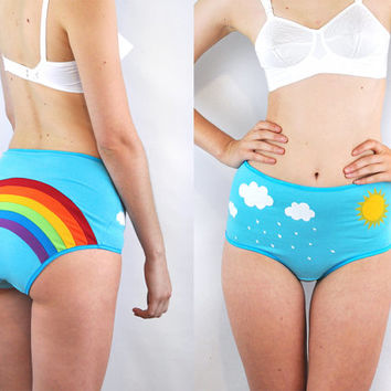 Rainbow panties with clouds, rain and sun lingerie underwear