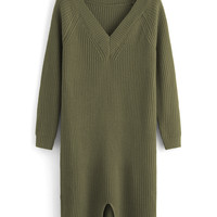 Army Green V-Neck Slit Sweater Dress