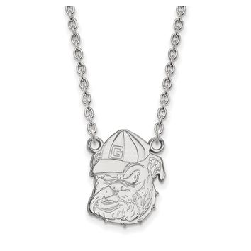 NCAA 10k White Gold U of Georgia Large Bulldog Pendant Necklace