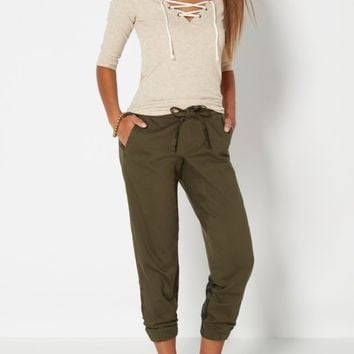 Light Olive Pieced Printed Twill Jogger | Joggers | rue21