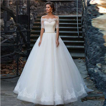vestido de casamento wedding gowns 2016 fashion sexy off the shoulder romantic half sleeve none train white lace wedding dresses