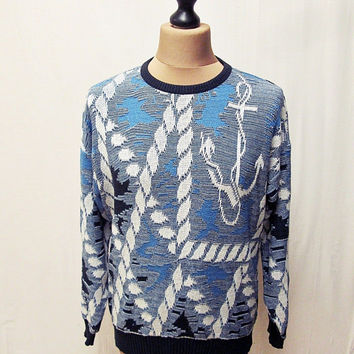 Vintage 80s AMAZING Nautical Sailor Anchor Tattoo Fishing Rope Jumper Sweater L