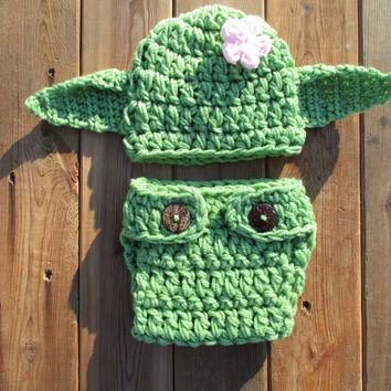 Crochet Green Newborn Yoda Star Wars Inspired Baby Photo Prop