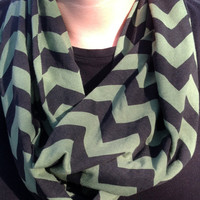 Black and green chevron Infinity scarf, Black and White Chevrons Zig Zag, jersey knit, bridesmaid monogrammed gift, sorority scarf