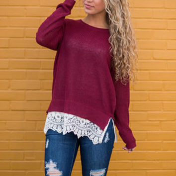 You're So Frilly Top, Burgundy