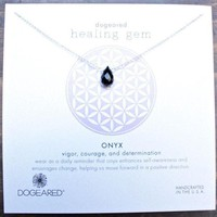 DCCKLM3 Dogeared Healing Gem Onyx Pendant Necklace