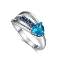 Psiroy 925 Sterling Silver Elegant Blue Topaz Heart Arrow Filled Ring for Women