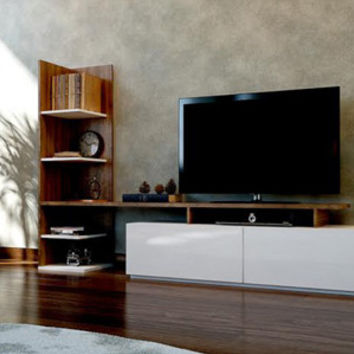 HOME TV stand entertainment unit white walnut