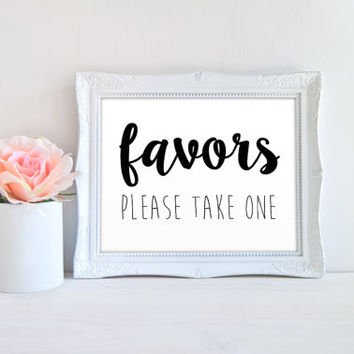 Wedding Favors Please Take One Printable Sign, Printable Digital Wall Art Template, Instant Download, 8x10